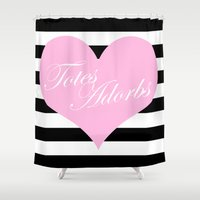 totes Shower Curtains featuring Totes Adorbs Pink Heart  by The Trendy Sparrow