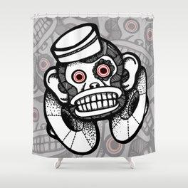Creepy Cymbal-banging Monkey Shower Curtain