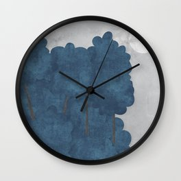 Blue trees Wall Clock