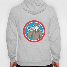 Soldier Blowing Bugle Circle Retro Hoody