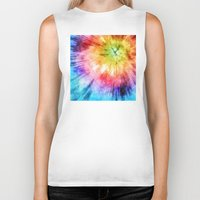 tie dye Biker Tanks featuring Tie Dye Watercolor by Phil Perkins