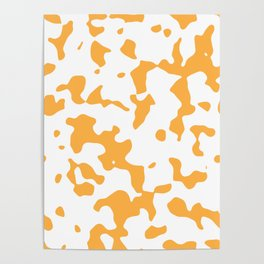 Large Spots - White and Pastel Orange Poster