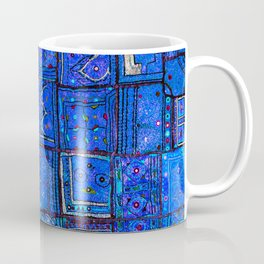 V2 Calm Blue Traditional Moroccan Cloth Texture. Coffee Mug