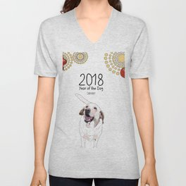 Year of the Dog - White Labrador Unisex V-Neck