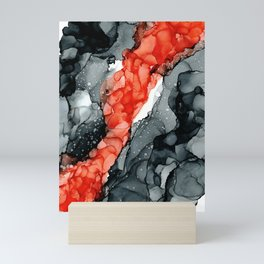 Red Black Abstract #2: Original Alcohol Ink Painting by Herzart Mini Art Print