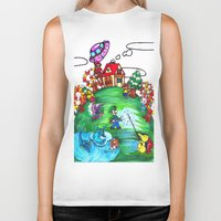 animal crossing Biker Tanks featuring Animal crossing invasioni  by Cristina Lunat Sugamele