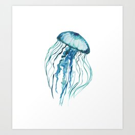 Watercolor Aqua Jellyfish Art Print