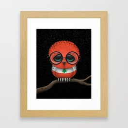 Baby Owl with Glasses and Lebanese Flag Framed Art Print