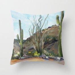 Desert Saguaros Throw Pillow