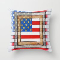 american flag Throw Pillows featuring American Flag by Steve Hester