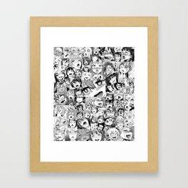 Ahegao Hentai Girls Anime Collage Framed Art Print