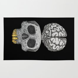 Losing my mind (black background) Rug
