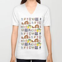 nintendo V-neck T-shirts featuring Nintendo Characters by Hamburger Hands