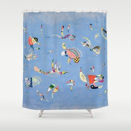Sky Blue Painting By Wassily Kandinsky Shower Curtain