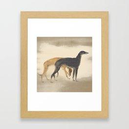 Two Greyhounds Framed Art Print