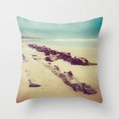 Blue Ocean Beach Rocks in Oregon Throw Pillow
