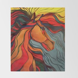 Wild Horse Breaking Free Southwestern Style Throw Blanket