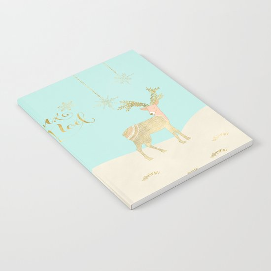 Merry christmas- gold deer - and xmas wishes on aqua backround Notebook