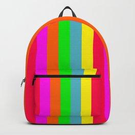 Neon Hawaiian Rainbow Cabana Stripes Backpack