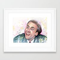 nicolas cage Framed Art Prints featuring Nicolas Cage You Don't Say by Olechka