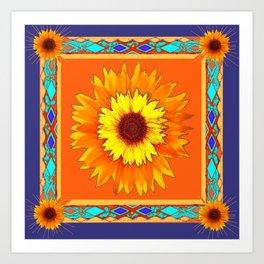 Southwestern Sun Flowers Abstract Design Art Print