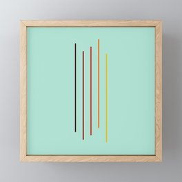 Minimal Abstract Colorful Stripes On Green Framed Mini Art Print