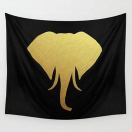 Golden Elephant Head Black Wall Tapestry