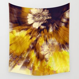 floral burst in sunny yellow Wall Tapestry