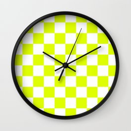 Chartreuse Checkers Pattern Wall Clock