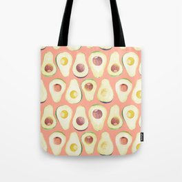 Watercolor avocado in pink Tote Bag