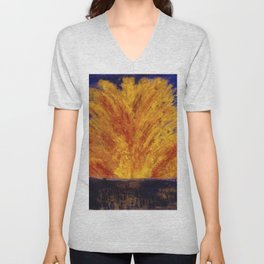 Fireworks portrait painting by James Ensor Unisex V-Neck