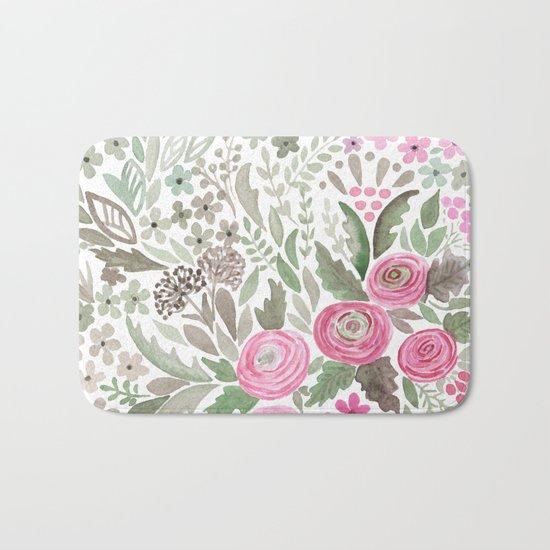 Watercolor .  Pink summer . Bath Mat