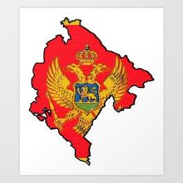 Montenegro Map with Montenegrin Flag Art Print