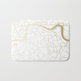 White on Yellow Gold London Street Map Bath Mat