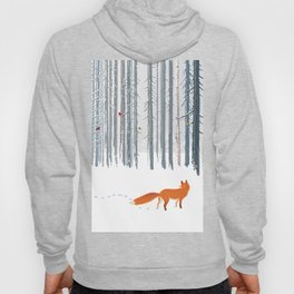 Fox in the white snow winter forest illustration Hoody