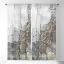 Black Gold Marble Storm Sheer Curtain