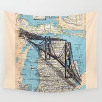 michigan Wall Tapestries featuring Michigan by Ursula Rodgers