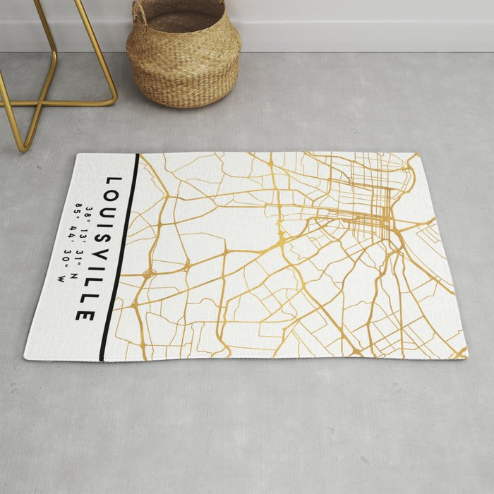LOUISVILLE KENTUCKY CITY STREET MAP ART Rug