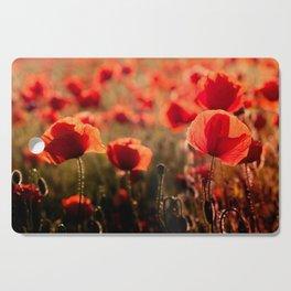 Fiery poppy field - Red Poppies Flowers Cutting Board