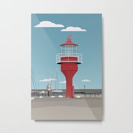 The lighthouse in the harbour in Skanor - light Metal Print