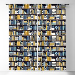 Book Case Pattern - Blue Yellow Blackout Curtain