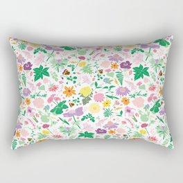 Cottage Garden Floral Print Rectangular Pillow