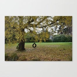 Tire Swing in the Fall Canvas Print