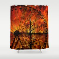ferris wheel Shower Curtains featuring Ferris wheel by  Agostino Lo Coco