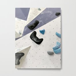Geometric abstract free climbing bouldering holds black blue men Metal Print