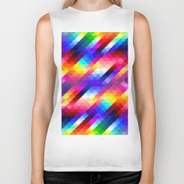 Abstract Colorful Decorative Squares Pattern Biker Tank