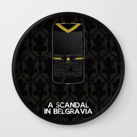 scandal Wall Clocks featuring A Scandal in Belgravia by MacGuffin Designs