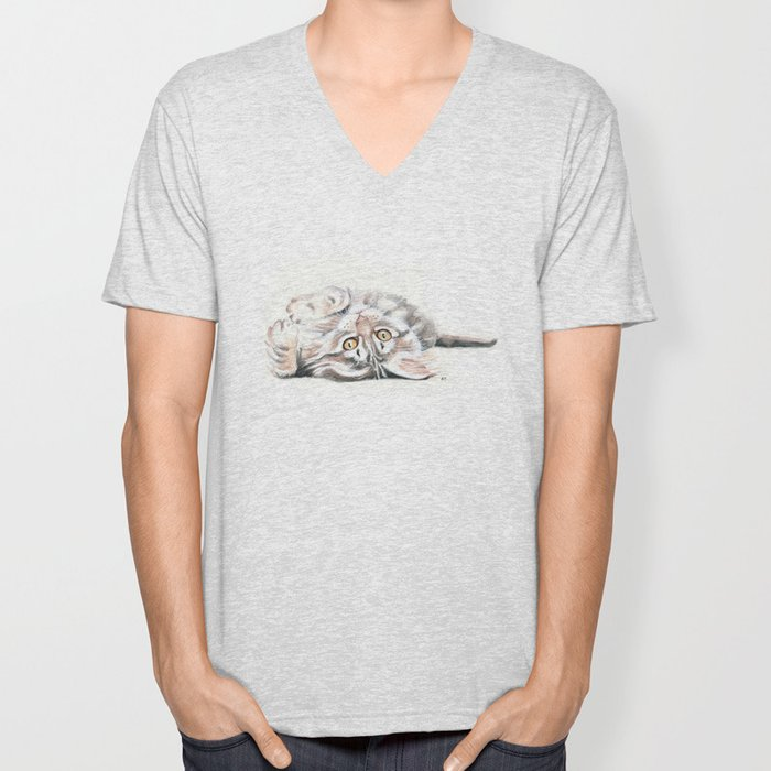 Cute Maine Coon Kitten Playing Unisex V-Neck