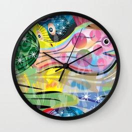 Hippy Fish in Rainbow Glow Wall Clock