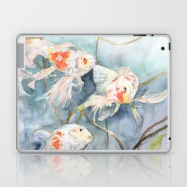 Koi Fish Painting, Underwater Water Lily Laptop & iPad Skin